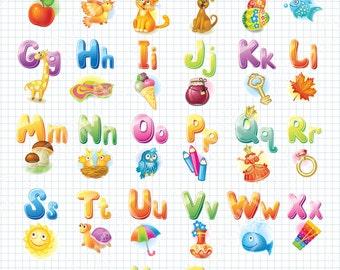 Illustrated Alphabet Poster, Nursery Alphabet Art, Nursery ABC Poster, Alphabet Poster, Nursery Decor, Nursery Wall Art, Nursery Wall Decor