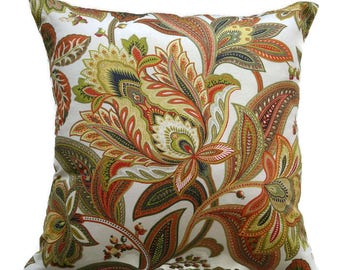 Floral Fall Pillow Cover, Burnt Orange and Green Paisley Cushion Cover, Rust Flowered Pillow, Autumn Pillow, Fall Decor Pillow, Autumn Decor