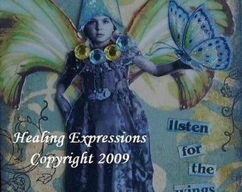 WINGS OF HOPE altered art therapy recovery survivor inspirationa faith healing collage wings butterfly AcEO AtC PRiNT