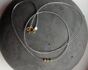 Minimalist fine necklace with silver band and gold filled beads/45 cm/gift for you/length adjustable/fine/