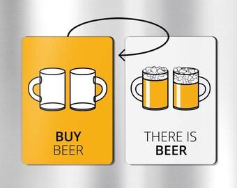 Reversible beer magnet: reminder magnet, beer lovers gifts, beer gifts, beer accessories, beer decorations, beer fridge, beer gifts for men
