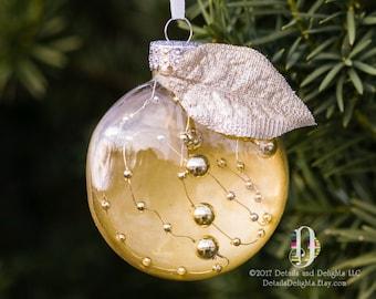 Fil perlé or chic clair ornement disque en verre, ruban de Satin, feuille d'or argenté Accent, arbre de vacances de Noël Decoration à suspendre