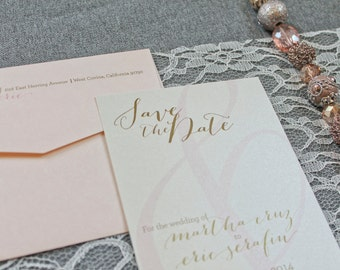 Blush Pink and Gold Save the Date Wedding Card - Simple, Ampersand, Romantic - Martha and Eric