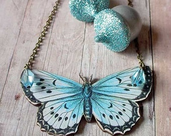 Moth Necklace Large Butterfly in Light Blue Black White