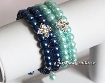 Bridesmaid Gift Blue Bracelet Double Strand Bracelet Navy Bracelet Bridesmaid Jewelry Bridal Party Jewelry