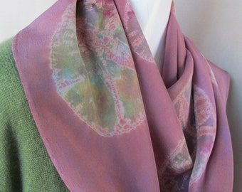 Women's Hand Dyed Silk Shibori Mauve and Green Scarf