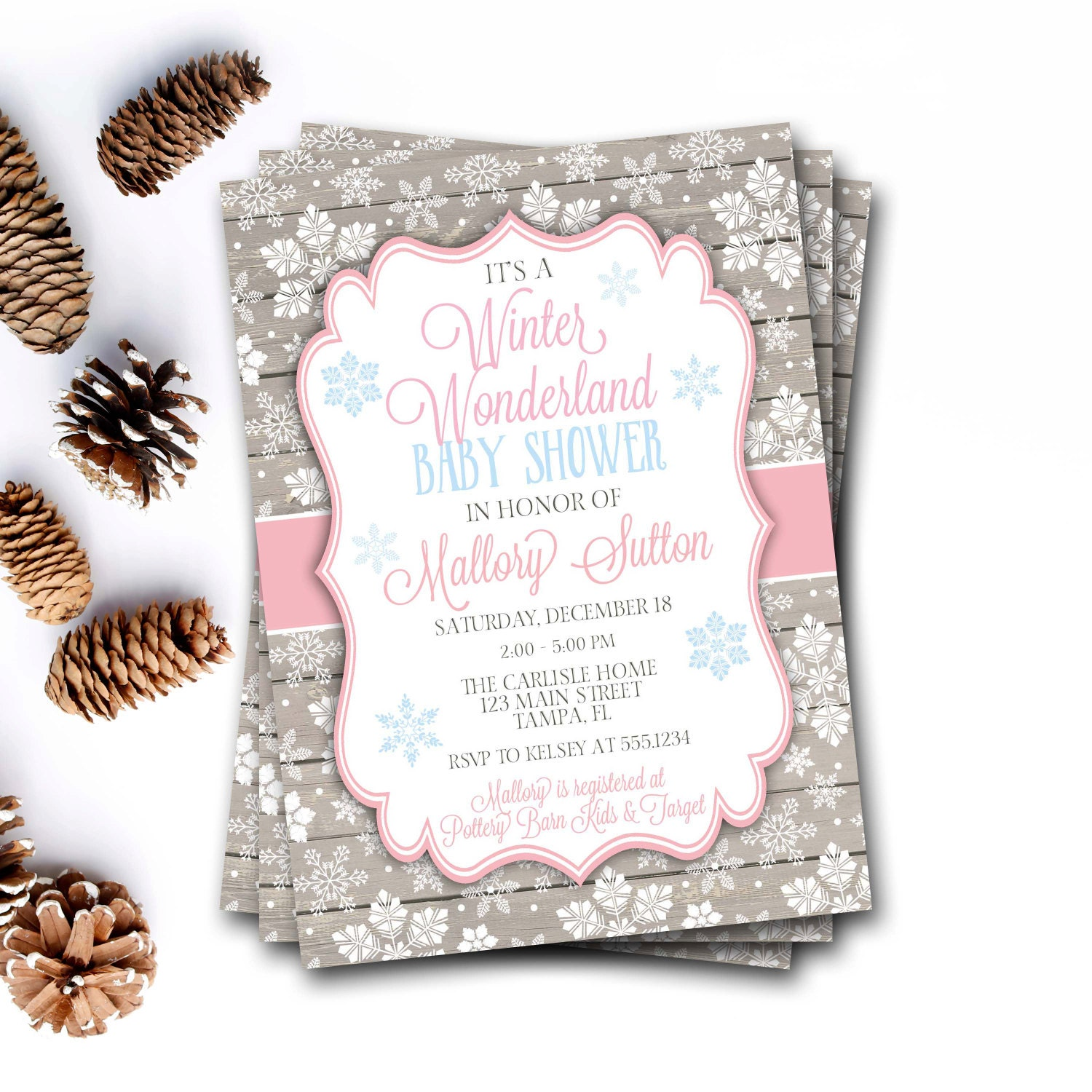 Winter Wonderland Baby Shower Invitation, Winter Baby Shower ...