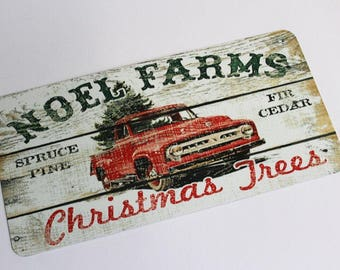 Christmas Sign - Red Truck Sign - Wreath Sign - Aluminum Sign - Wreath Attachment