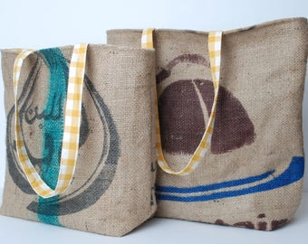 Burlap Bag-Burlap Purse-Burlap Tote-Burlap Tote Bag-Coffee Tote Bag
