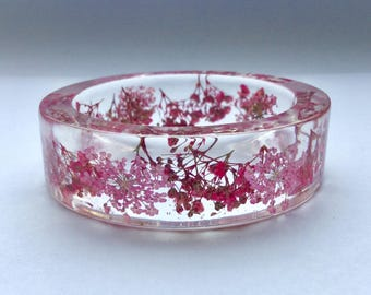 Pink flower bangle,real pink flower bracelet,gypsophila bracelet,