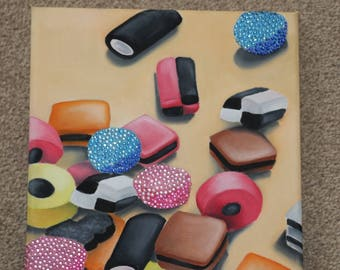 Liquorice All sorts sweets oil on canvas