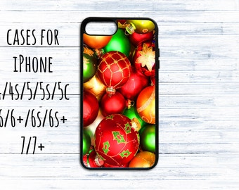 Christmas decor balls phone cover - phone case for iPhone 4/4s/5/5s/5c/6/6s/6+/6s+/7/7+/8/8+/X-case for iPhone- Winter Christmas gift iPhone