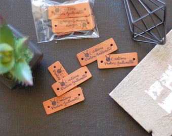 Personalized Labels set of 10 / Branding Tags for handmade / Branding Trims / Leather-goods label  / Leather Patches // Handicraft Label Tag