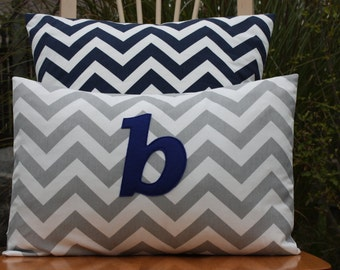 Monogrammed Lumbar Pillow Cover - Grey Chevron and Navy Monogram