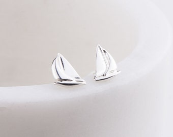 Dainty Gold Filled Tiny Sailboat Post Stud Earrings, Tiny Gold Stud Earrings, Graduation or Bridesmaid Gift, Beach/ Sea Life Earrings