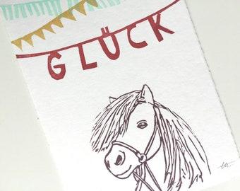 """Glück - Miniprint - handprinted postcard - 10x15cm/A6/4x6"""" // Original Mini Print, pony, Horse, Wall Art, Card, Art"""
