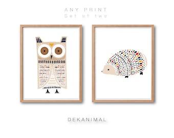 Owl Art Print, Hedgehog Art Print, Animal Art Print, Woodland Animal Art, Kids room decor, Animal Nursery decor, Print Set of 2