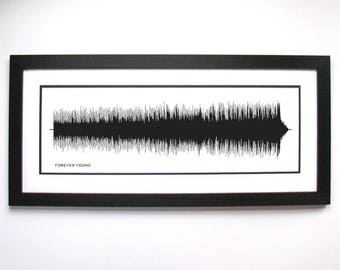 Forever Young - Print, Framed Print, Canvas. Classic 80's Ballads/Songs Sound Wave Art - Birthday Gift Idea