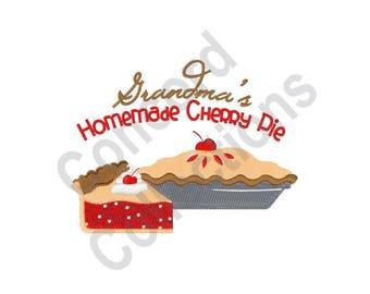 Grandma's Homemade Cherry Pie - Machine Embroidery Design, Grandma, Homemade, Pie, Cherry Pie