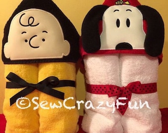 Charlie Brown or Snoopy inspired hooded towel bath/pool/beach, kids or adult sizes, perfect gift for any occasion