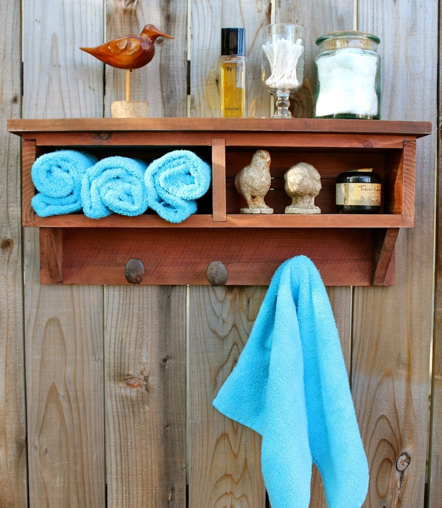 Bathroom Cubby Shelf: Rustic Home Decor Cubby Shelf Railroad Spike Coat Rack