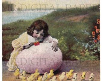 Antique Postcard / Easter Card / Easter Egg Postcard / Digital Instant Download / Paper Ephemera / Girl with Chicks / Vintage Postcard