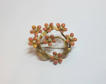 Vintage 1950's 18K Yellow Gold, Diamond & Pink Enamel Flower Brooch Pin