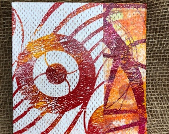 "Red and orange Monoprint 6"" canvas wall art. Mix and match, buy one get one FREE (SKU 1011)"