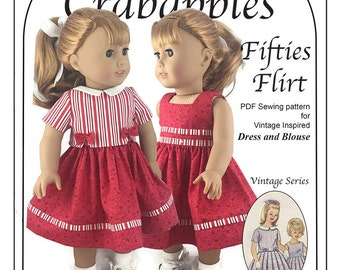 """Fifties Flirt Retro Dress and Blouse PDF Sewing Pattern to fit 18"""" dolls Instant Download"""