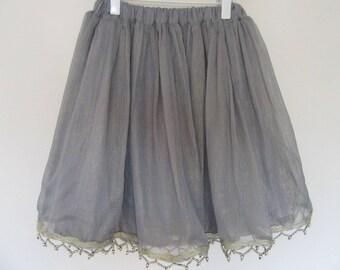 Georgette Grey Silk Skirt