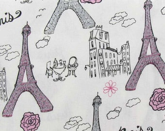 Paris Eiffel Tower Pink & Gray Glitter Fabric Girl Rose Floral Sparkle Fabric Eiffel Tower Fabric 100% Cotton Apparel Quilting Fabric a1/1