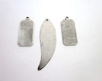 Silver Components, Brass Pendant Jewelry Supply, Silver Pendant Tags, Small Metal Pendant, Silver Rectangle Tags, Metal Rectangle Tags, Wing