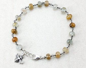 Golden Rutile Quartz Charm Bracelet - Honey Bee - Silver