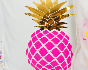 Pink and gold pineapple pillow cover