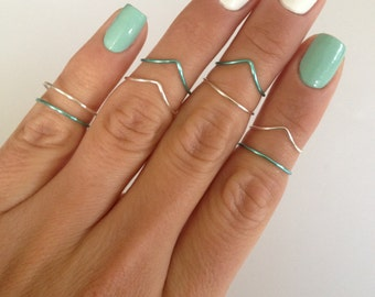 8 Midi Rings, Silver and Aqua, 4 Chevron and 4 Simple Band Midi Rings. Mid knuckle stacking rings to wear in many combinations!