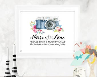 Share the Love Wedding Social Media Poster - INSTANT DOWNLOAD - Editable Printable Wedding Camera Photo Instagram Social Share Sign