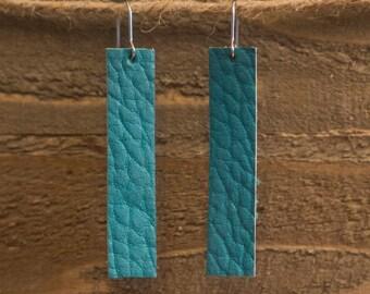 Teal Leather Bar Earrings