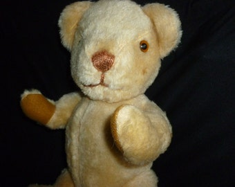 Vintage British Nisbet Teddy Bear - Butter Cream Mohair Bear - Old soft toy - 1960/70's Teddy - Collectors bear - House of Nisbet toy