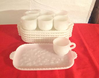 Vintage  milk glass  luncheon set .