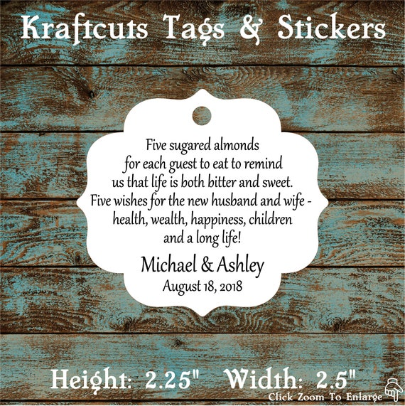 Favor Tags, Jordan Almond Favor Tags, Sugared Almond Favor Tags, Italian Wedding Favor Tags #648 Qty: 30 Tags