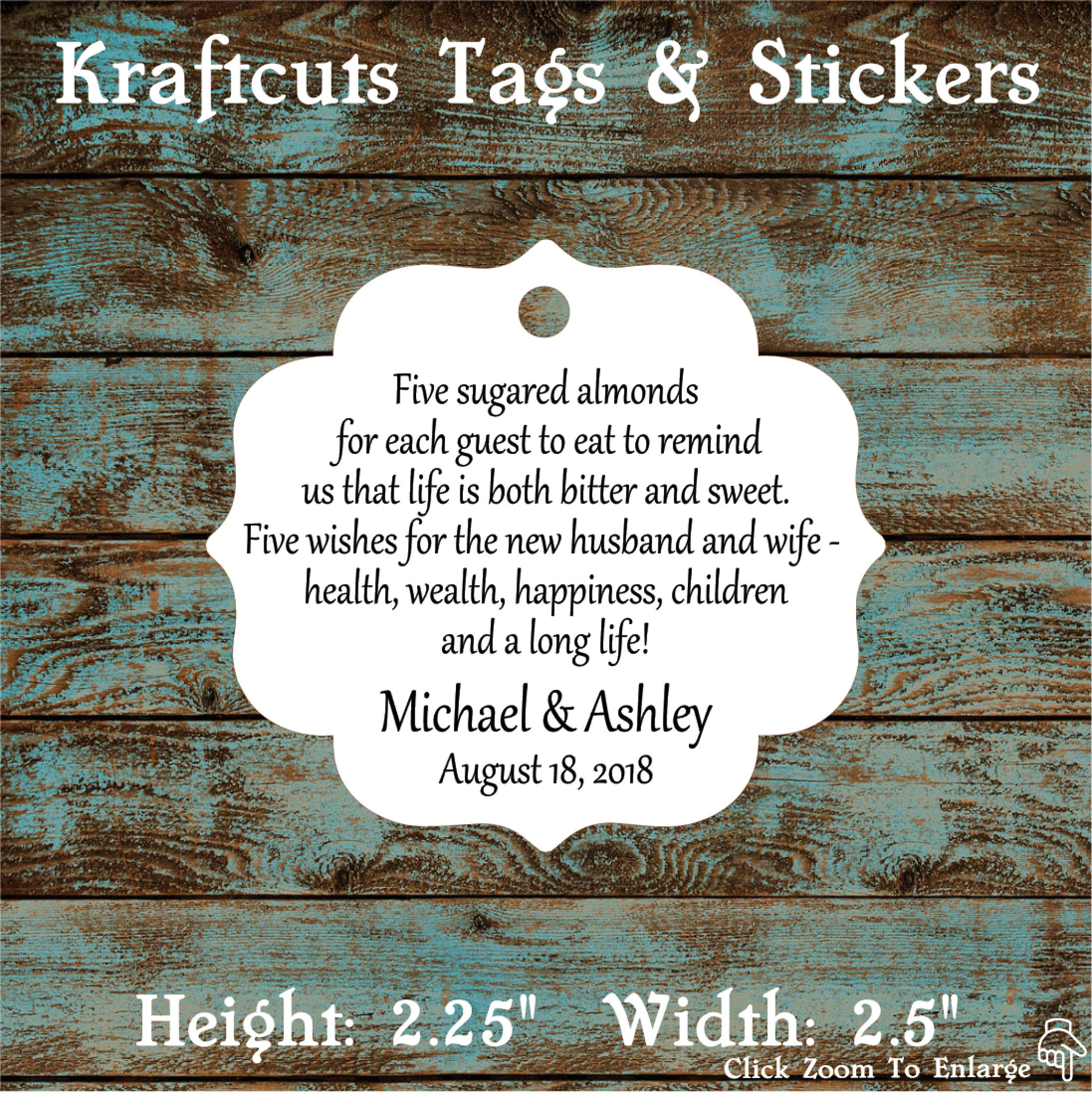Favor Tags, Jordan Almond Favor Tags, Sugared Almond Favor Tags ...