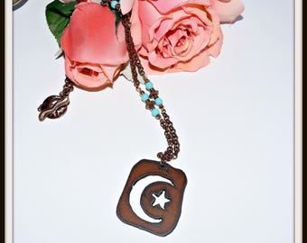 Rusted Iron Moon and Star Necklace