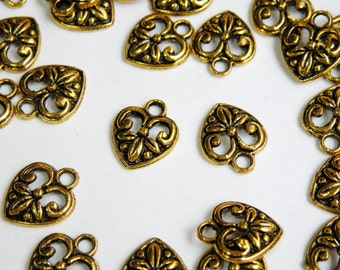 20 Heart charms with leaves antique gold 15x12mm PGAB2862Y