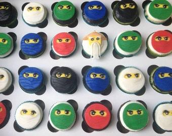 Ninjas edible fondant cupcake toppers made by FancyTopCupcake