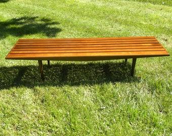 Vintage Mid Century Yugoslavian Slat Bench / Coffee Table