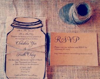 Kraft Wedding invitation, Mason Jar Wedding Invitation, Natural burlap wedding invitation
