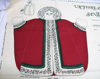 Vintage Victorian Christmas Santa Centerpiece Panel, 3D Stuffed Santa, Springs Industries, pattern 6978
