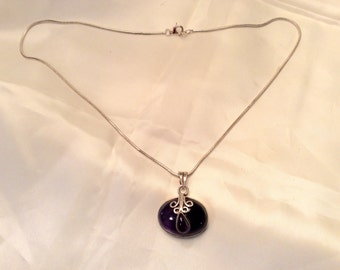 Sale Oval Cabochon Amethyst and Sterling Necklace