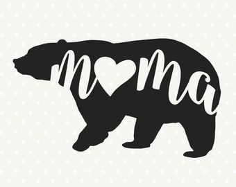 Mama Bear silhouette file, Bear Family SVG file, Bear svg file, Commercial cut file, SVG cutting file, SVG die cut file, Vinyl dxf file