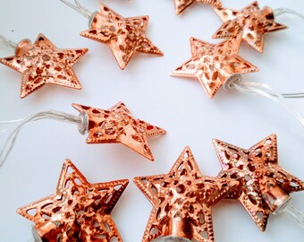 Rose Gold Fairy Lights / Star Fairy Lights / Battery Operated Lights / Rose Gold Decor / Festive Lights / Star Lights